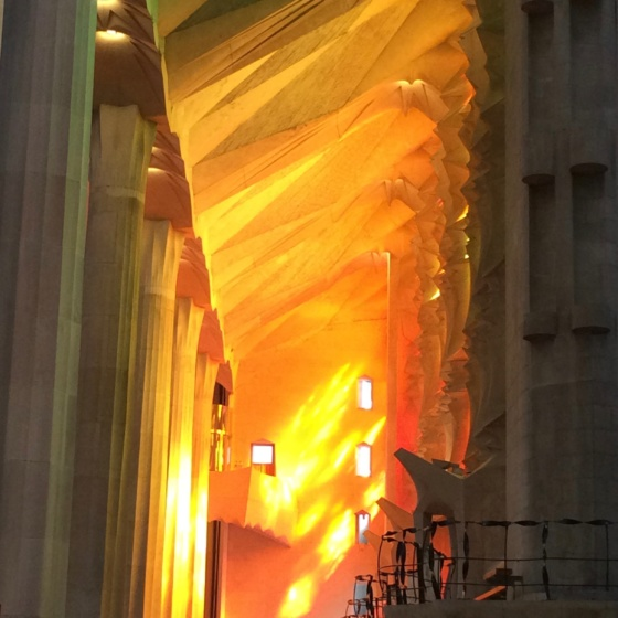 Sagrada Familia inside: light show